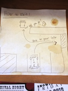 On the counter, they drew a picture to show how to back out your car.